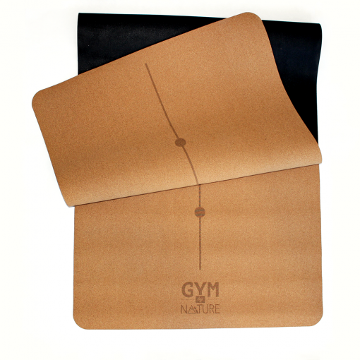 Gym by Nature - Grand tapis 5 mm d'épaisseur replié en liège naturel et caoutchouc naturel - yoga pilates gym méditation