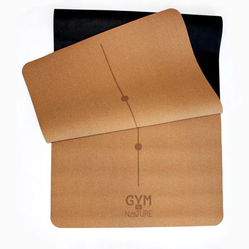Gym by Nature - Grand tapis 5 mm d'épaisseur replié en liège naturel et caoutchouc naturel - yoga pilates gym méditation fitness