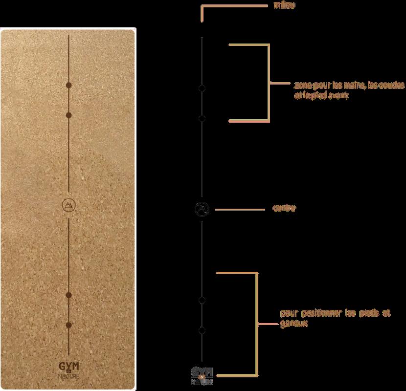 gymbynature - Grand tapis écologique en liège antidérapant avec guides de position stratégiques et discrets